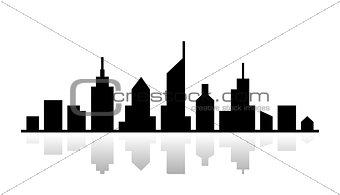 Black vector outline. Cityscape design