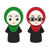 Cartoon girls with hijab