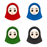Cartoon avatars of girls with hijab