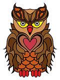 Big serious brown owl