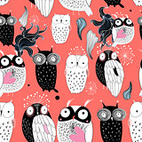 owls on a red background