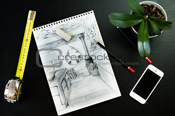 Sketch. Flat lay of Interior designer and architect working space with smartphone