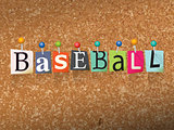 Baseball Concept Pinned Letters Illustration