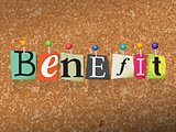 Benefit Concept Pinned Letters Illustration