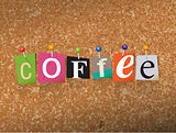 Coffee Concept Pinned Letters Illustration