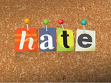 Hate Concept Pinned Letters Illustration