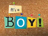 It's a Boy Concept Pinned Letters Illustration