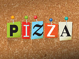 Pizza Concept Pinned Letters Illustration