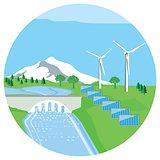 Solar plant, hydropower plant, wind energy