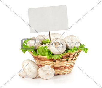 Champignons and blank sale tag