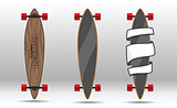 Illustration of flat longboards isolated.
