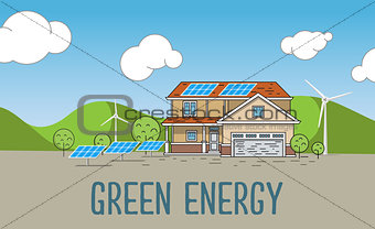 Flat Designed Banner Concept of Eco friendly house