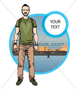 boy hipster character, vector illustration man on city background