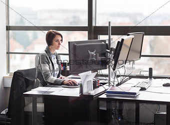 Business woman working in corporate office.