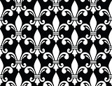 Fleur de lis symbol white pattern on black