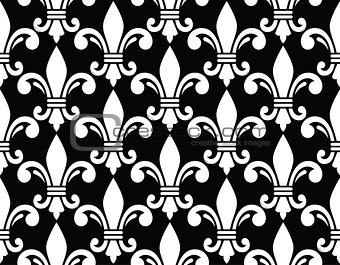 Fleur de lis symbol white pattern on black