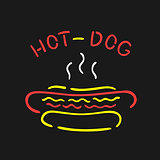 Vector Symbol Neon Hot Dog