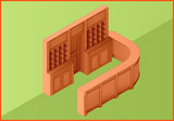 Reception hotel table flat isometric