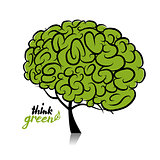 Think green. Brain tree concept for your design