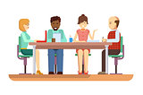 Business briefing flat design characters