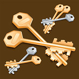 Set of keys on brown background.