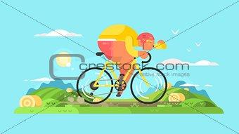 Cyclist sportsman on bike