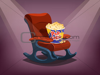 Cinema chair with popcorn
