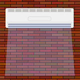 Air Conditioner on the Red Brick Wall.