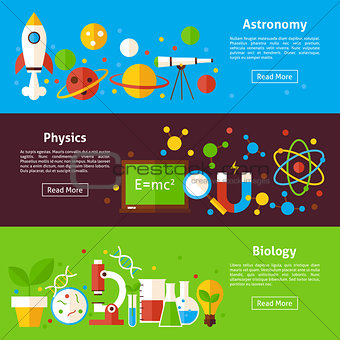 Astronomy Physics Biology Science Flat Horizontal Banners