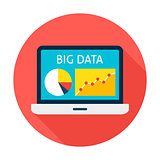 Big Data Laptop Flat Circle Icon