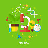 Biology Science Flat Vector Concept