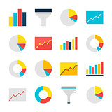 Business Analysis Graph and Chart Flat Objects Set isolated over