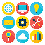 Business Big Data Flat Circle Icons Set