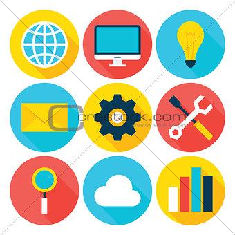 Business Big Data Flat Circle Icons Set