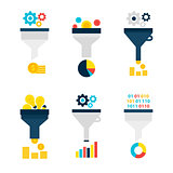 Funnel Chart Flat Objects Set isolated over White