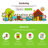 Gardening Flat Outline Web Design Template