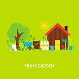 Home Garden Vector Flat Concept