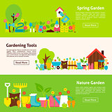 Nature and Gardening Tools Flat Horizontal Banners