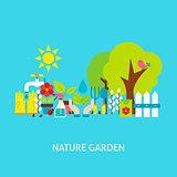 Nature Garden Vector Flat Concept