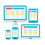 Responsive Web Design Flat Gadgets over White