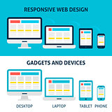 Responsive Web Design Gadgets and Devices Flat Concept