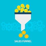 Sales Funnel Converting Ideas into Money Flat Concept