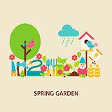 Spring Garden Vector Flat Concept