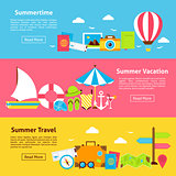 Summer Travel Holiday Flat Horizontal Banners