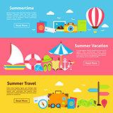Summer Travel Holiday Flat Horizontal Banners