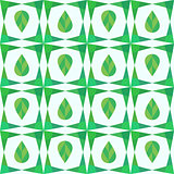 Abstract geometry seamless pattern with leaves.