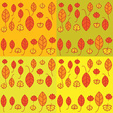 Set of seamless pattern with leaves.