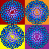 Collection of 4 Mandala. Seamless pattern.