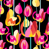 Seamless pattern with beautiful multi-colored tulips