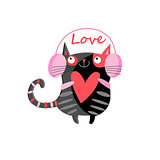 Graphic illustration of a cat lover